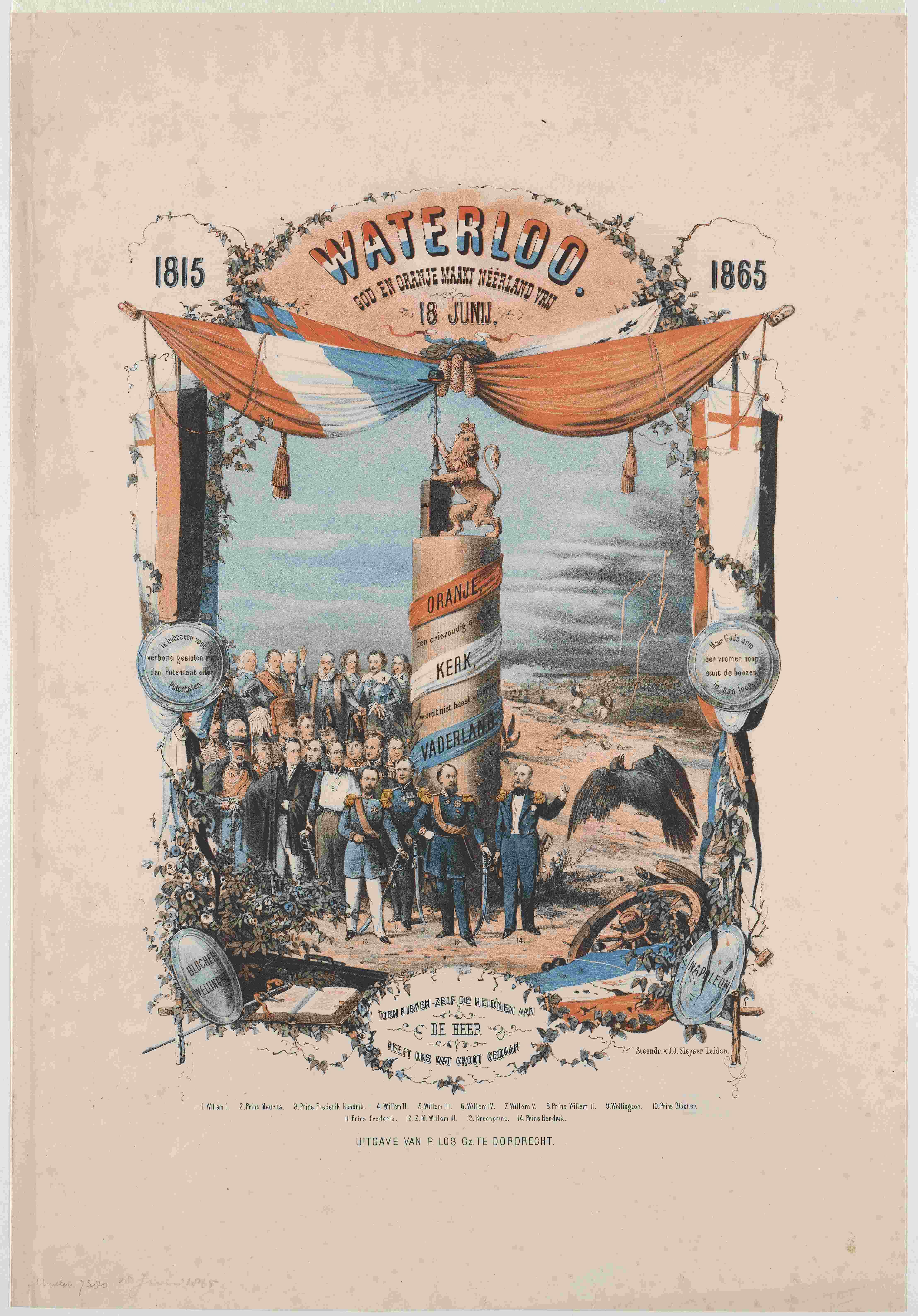 J.J. Sleyser, Waterloo God en Oranje maakt Neerland vrij 18 junij 1815 1865, 1865, AVS 26071